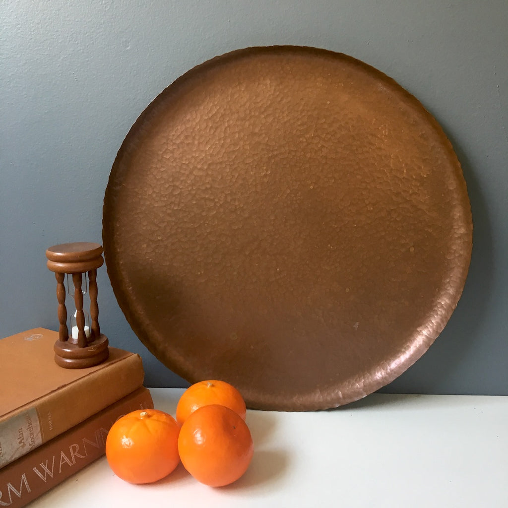 Hand hammered round copper tray - vintage serving or decor