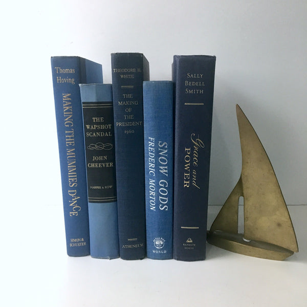Decorative book stack - shades of cornflower blue - vintage book decor - NextStage Vintage