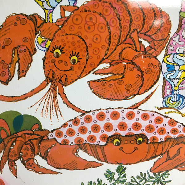Crab and lobster metal bar tray - vintage serving tray - NextStage Vintage