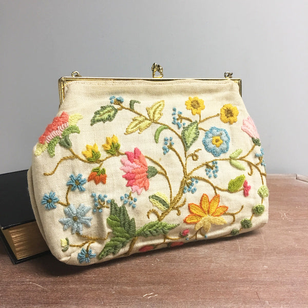 Crewel embroidery purse - Jacobean flowers on linen - 1960s vintage - NextStage Vintage