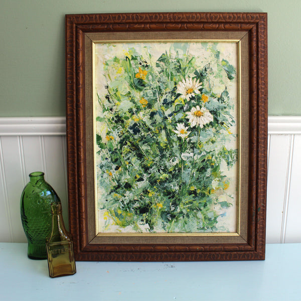 Daisy painting - 1970s expressionist inspired painting - modernist floral painting - NextStage Vintage