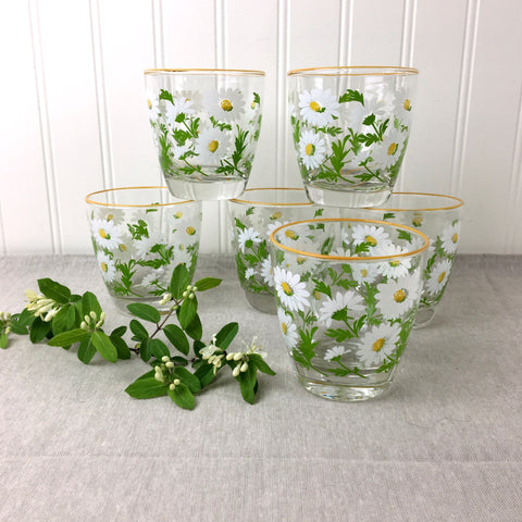 Libbey White Daisies rocks glasses  LRS195 - vintage drink ware set of 6