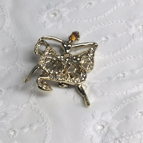 Rhinestone dancer pin - 1960s costume jewelry - NextStage Vintage
