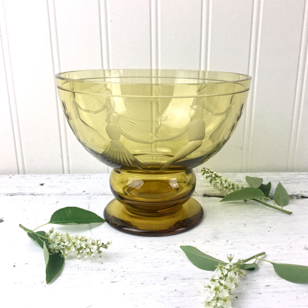 Karhula amber glass couples dancing bowl - design by Gören Hongell - vintage Finnish glass - NextStage Vintage