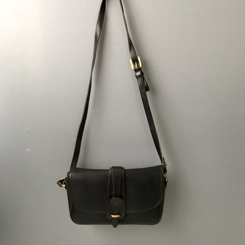 Dooney & Bourke AWL black equestrian tack crossbody bag - over and under - 1980s vintage