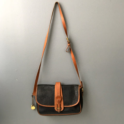 Dooney & Bourke AWL navy and tan equestrian tack crossbody bag - over and under - 1980s vintage