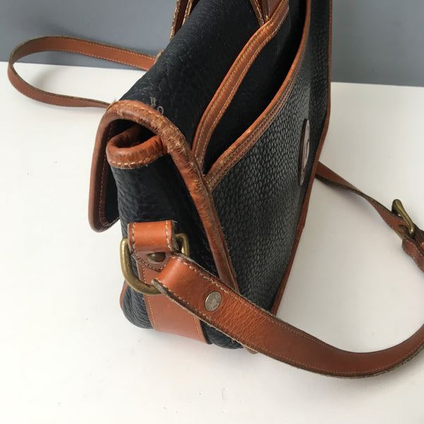 Dooney & Bourke AWL navy and tan equestrian tack crossbody bag - over and under - 1980s vintage - NextStage Vintage