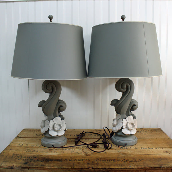 Blue and white flower table lamps - a pair - original shades - 1940s - NextStage Vintage