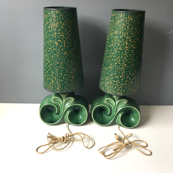 Mid century art deco style green pottery lamp pair with paperboard shade - 1950s vintage - NextStage Vintage