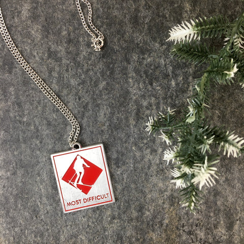 """Most Difficult"" pewter ski trail marker pendant - 1980s vintage International Pewter skiing  pendant - NextStage Vintage"