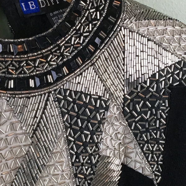 Black, silver and white geometric beaded sweater - I.B. Diffusion - 1980s vintage - size small