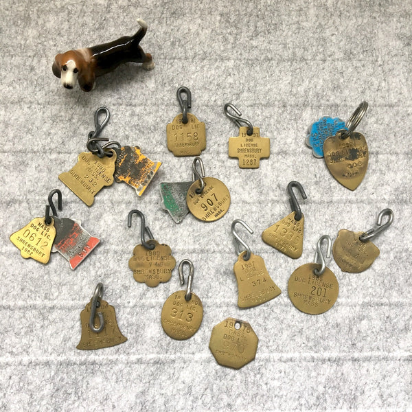 Vintage dog licenses and tags - lot of 17 - 1970s to 1990s - NextStage Vintage