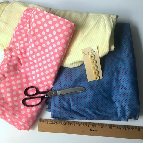 Polka dotted, swiss dotted and seersucker assortment - 5.5 yds - vintage 1970s fashion fabric - NextStage Vintage