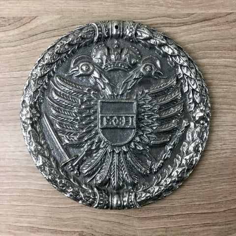 Austrian Doppeladler double-headed eagle plaque - Zinn Pewter - NextStage Vintage