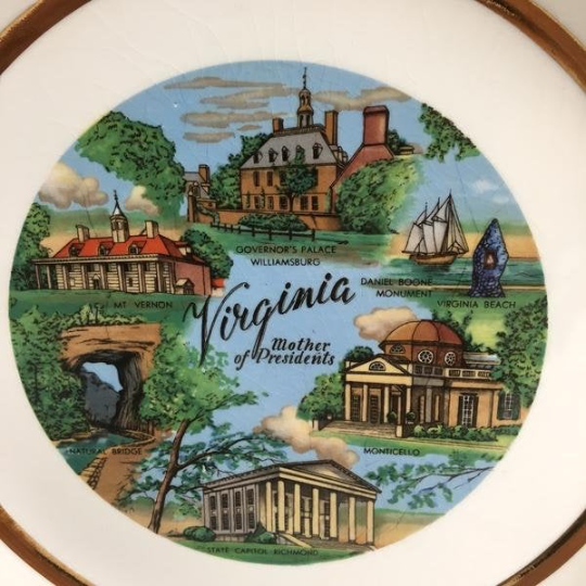 Virginia Mother of Presidents souvenir state plate - vintage travel souvenir - NextStage Vintage