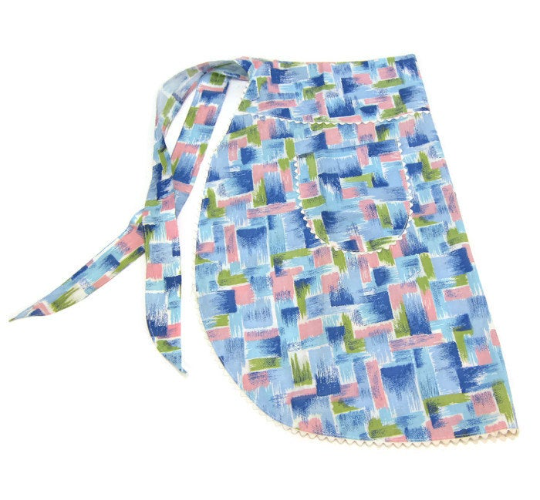 Abstract brush print blue, purple and green print apron - vintage half apron - NextStage Vintage