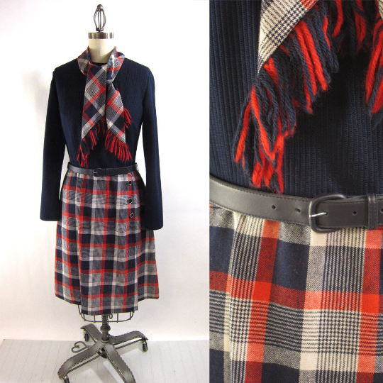 1970s plaid day dress with scarf - blue knit top - size medium - NextStage Vintage