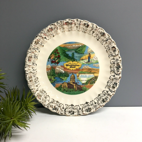 Washington state souvenir state plate - vintage road trip decorative wall plate