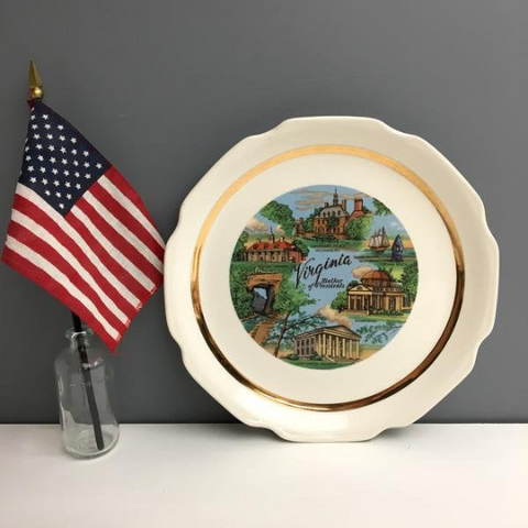 Virginia Mother of Presidents souvenir state plate - vintage travel souvenir