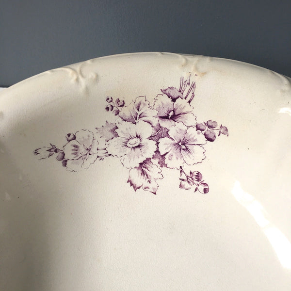 Dresden China wash basin - vintage purple and white floral transferware bowl - NextStage Vintage