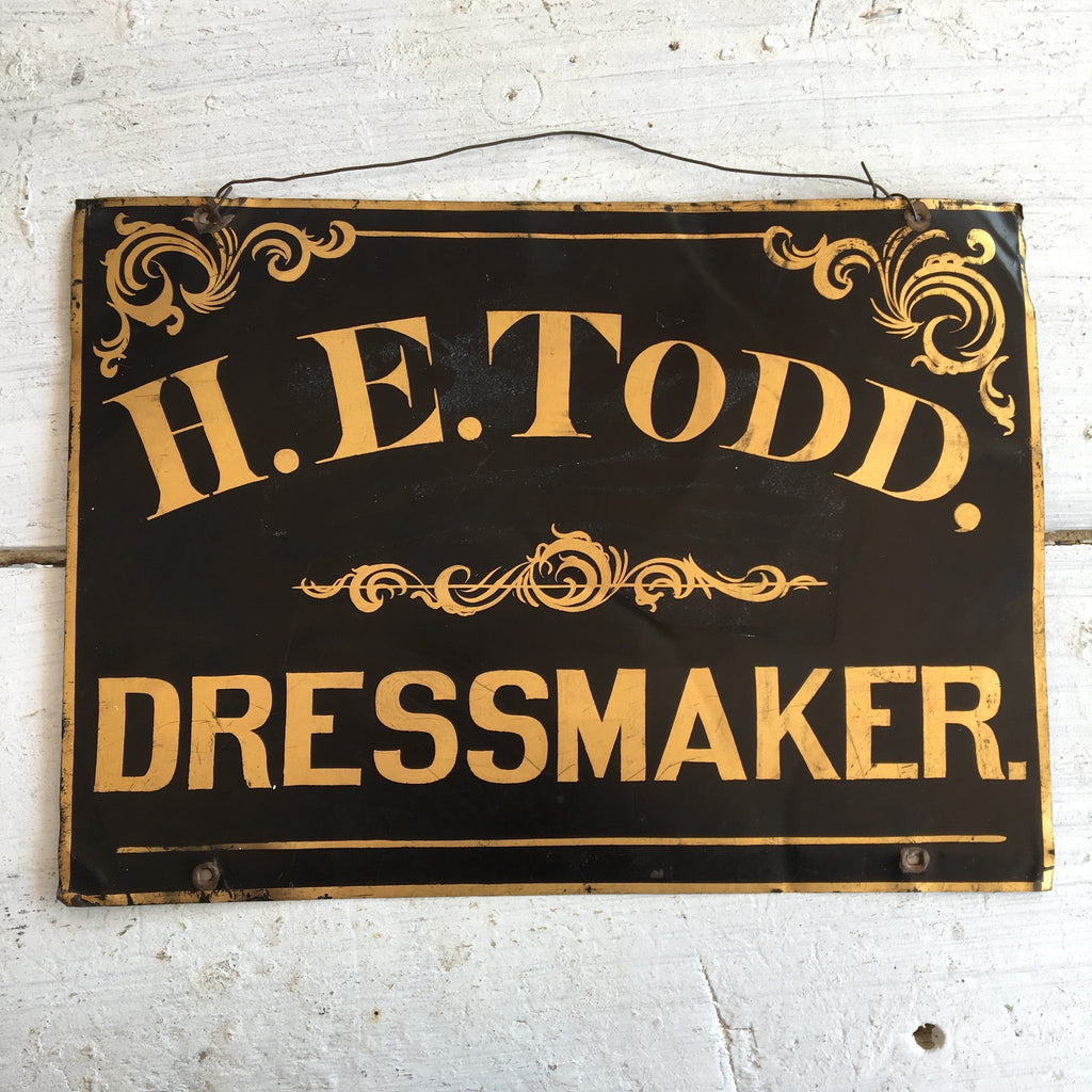 H. E. Todd, Dressmaker - antique metal advertising sign - handpainted - NextStage Vintage