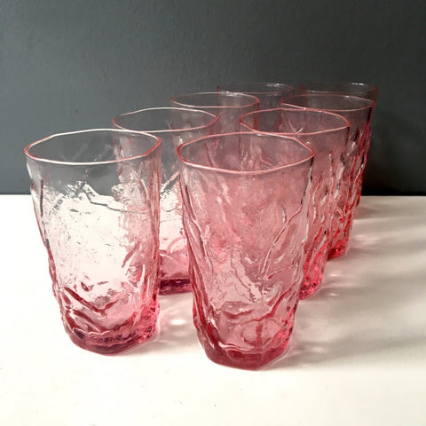 Seneca Driftwood pink juice glasses - set of 8 - 1970s vintage