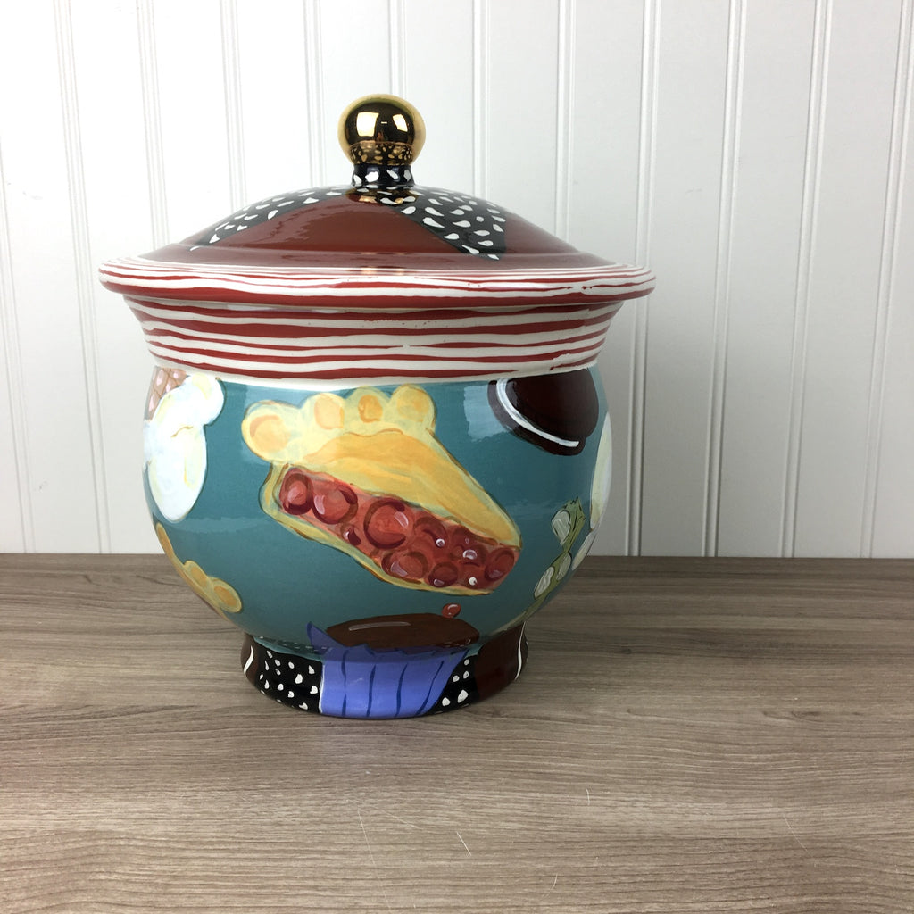 Droll Designs cookie jar - sweet treats - vintage art pottery