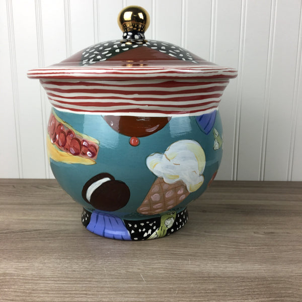 Droll Designs cookie jar - sweet treats - vintage art pottery - NextStage Vintage
