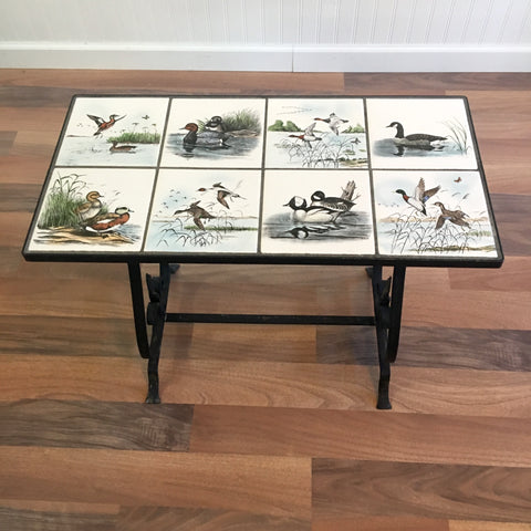 Mid century wrought iron duck tile top side table - Dennis Puleston art
