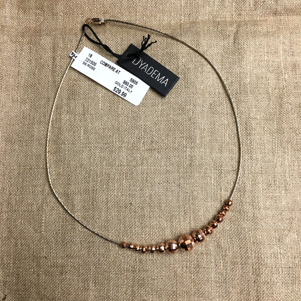 Dyadema sterling necklace with faceted rose gold beads - NWT - NextStage Vintage