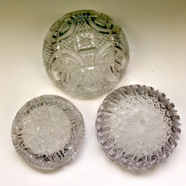 EAPG and pressed glass bowls - set of 3 - nesting sizes, assorted patterns - NextStage Vintage