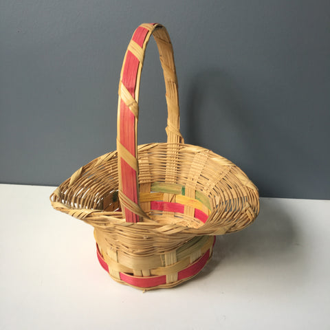 1970s Easter basket - reed woven in Mexico - NextStage Vintage