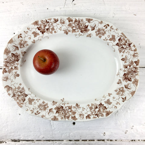 J.H. Weatherby and Sons Edgevale brown transferware platter - vintage English china