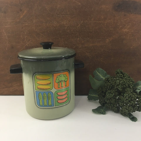 Green enamelware steamer pot - upright pan with insert - vintage 1980s - NextStage Vintage