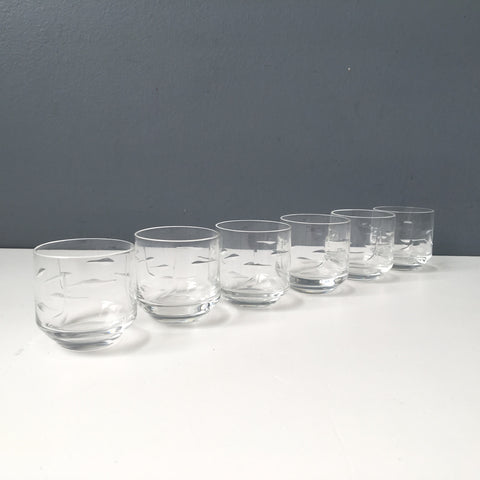 Shot glass set of 6 - cut modernist design - 1980s vintage