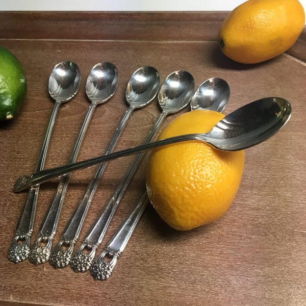 1847 Rogers Bros Eternally Yours iced tea spoons - set of 6 - mid century silverplate - NextStage Vintage