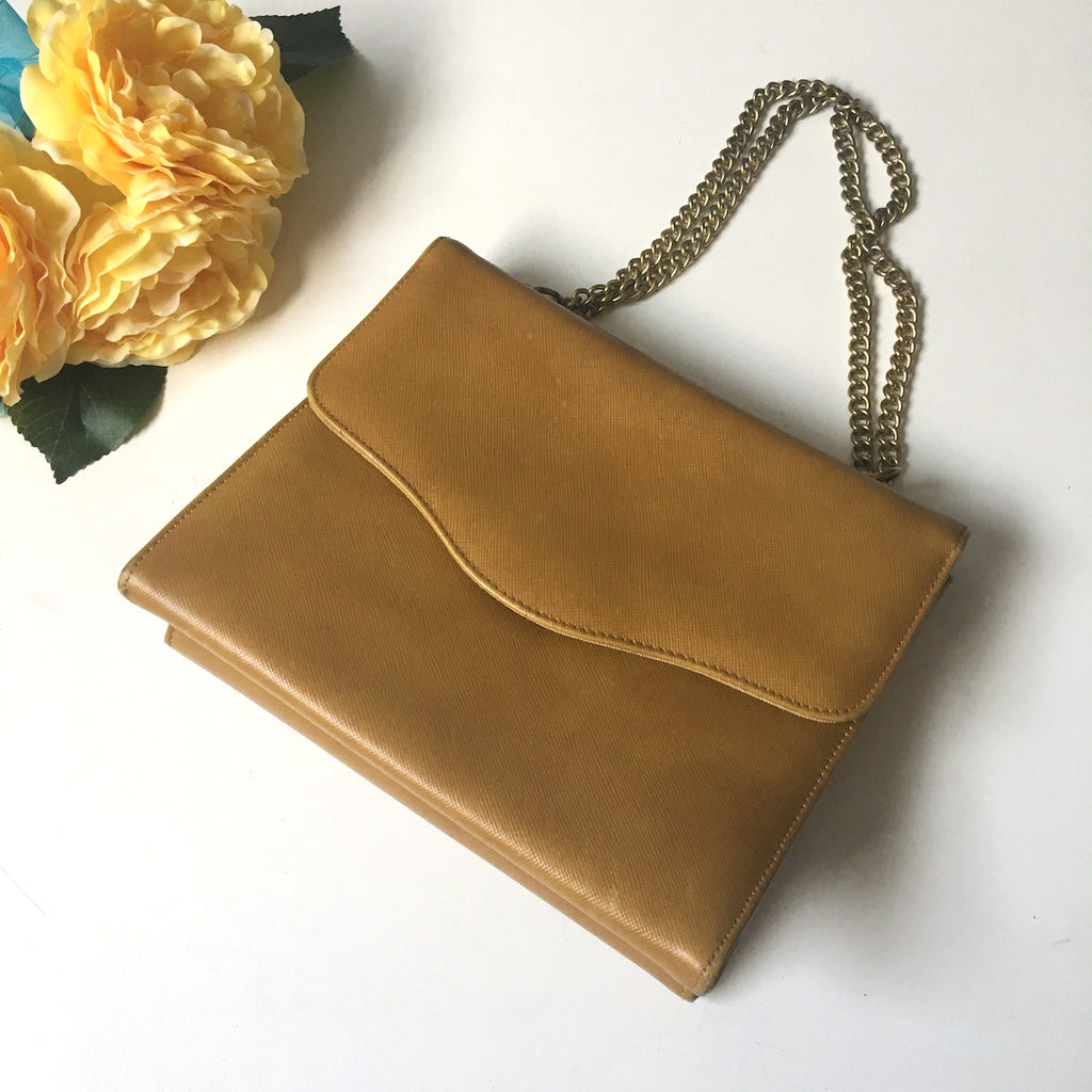 Etra handbag - butterscotch leather with chain handle - vintage 1960s - NextStage Vintage