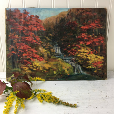 Autumn waterfall painting - vintage 1960s fall landscape