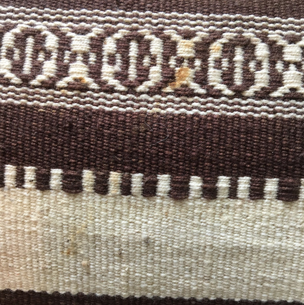 Vintage Mexican falsa rug 3.5' x 6.5' - brown and cream - boho weaving - NextStage Vintage