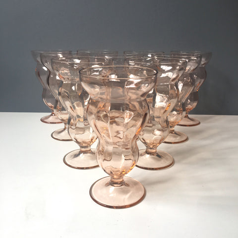 Federal Glass Lido Rose footed fountain glasses - set of 10 - vintage pink glassware - NextStage Vintage