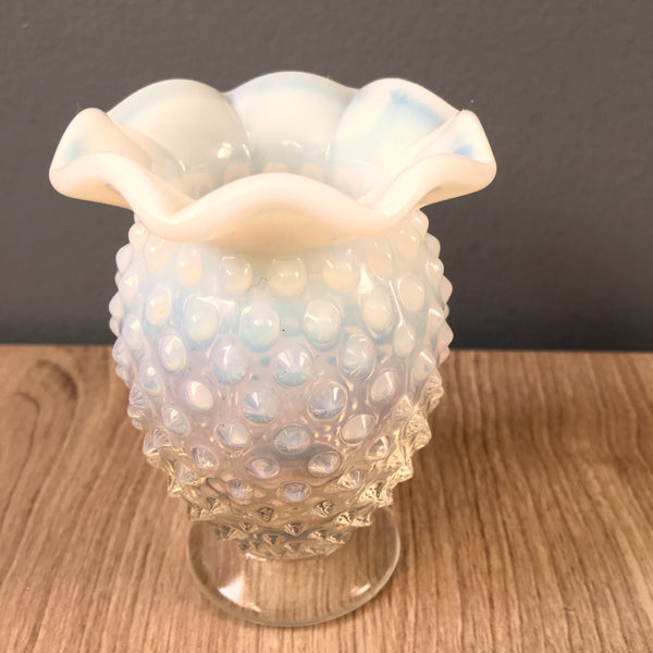 "Fenton French opalescent small hobnail vase - crimped flared rim - 3.5"" tall"