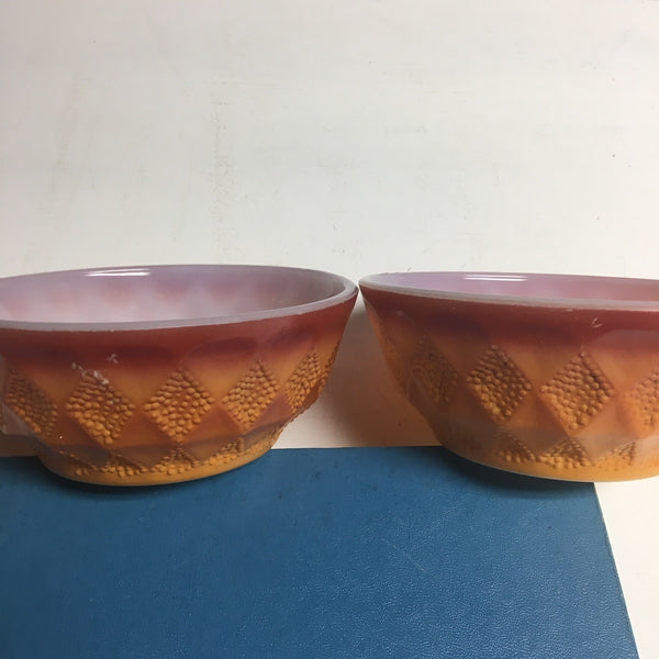 Fire King Kimberly orange ombre cereal bowls - set of 3 - vintage 1970s Anchor Hocking - NextStage Vintage