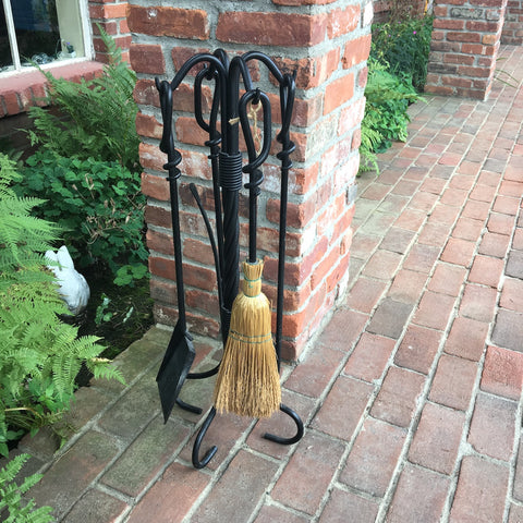 Fireplace tool set - five piece wrought iron set with stand - NextStage Vintage