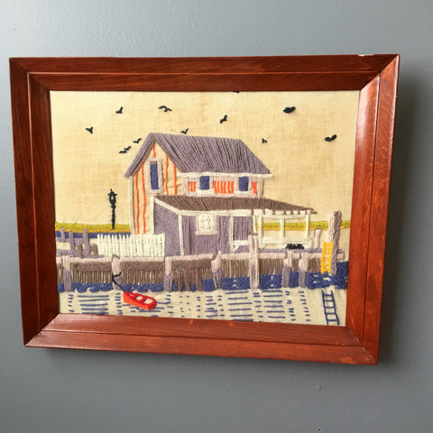Fishing shack crewel embroidery - 1970s vintage framed needlework