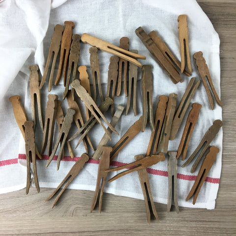 "Weathered flat wooden clothespins - 36 vintage 4"" and 4.5"" clothes-pegs"