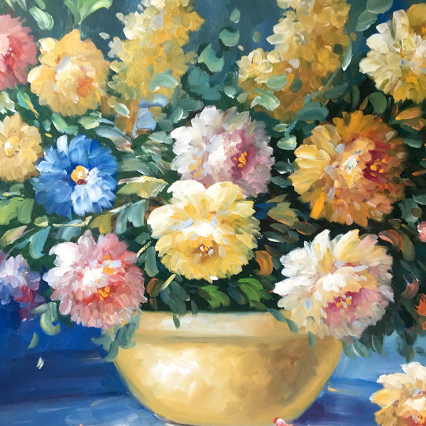 Cottage garden floral painting - large statement painting - NextStage Vintage