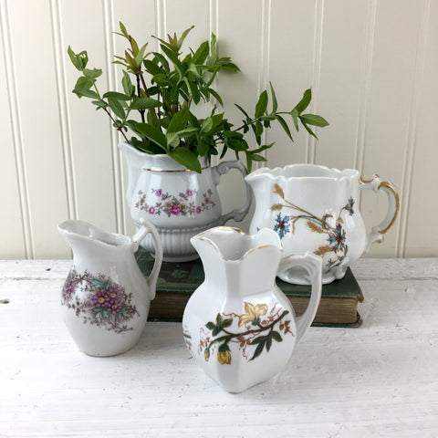 Vintage floral cream pitchers - set of 4 - mix and match creamers