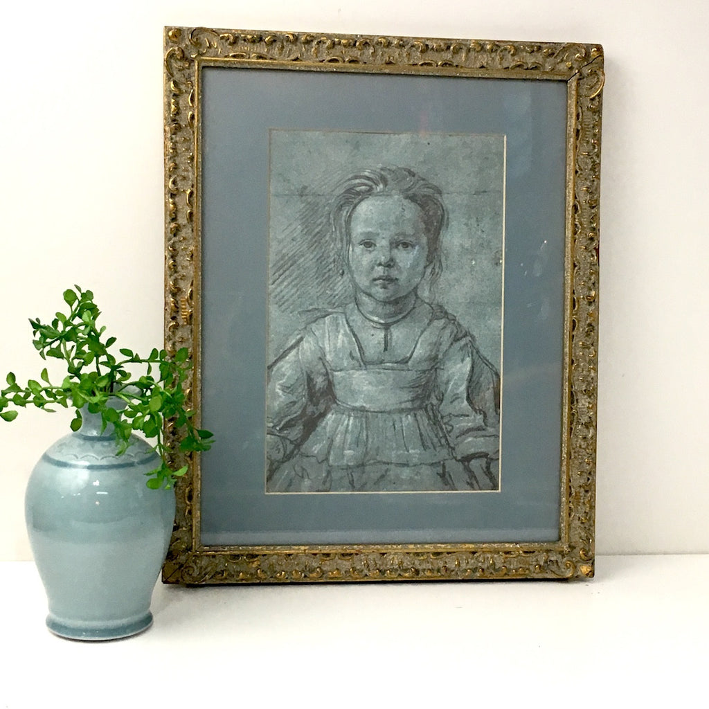 Florentine pencil study of a young girl - gesso framed print in soft blue - vintage decor - NextStage Vintage