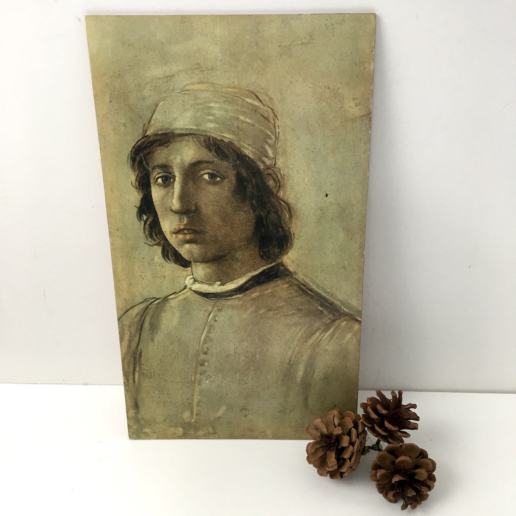 Vintage Florentine style print of a boy - board mounted study from Instituto Fotocromo Italiano - NextStage Vintage