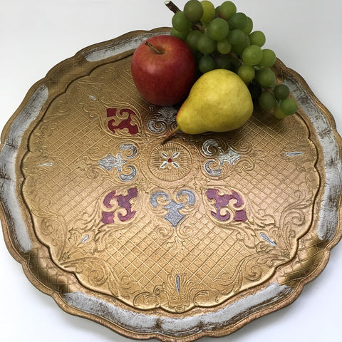 Round Florentine tray - white, gold and red - mint condition - Made in Italy - 1960s vintage - NextStage Vintage